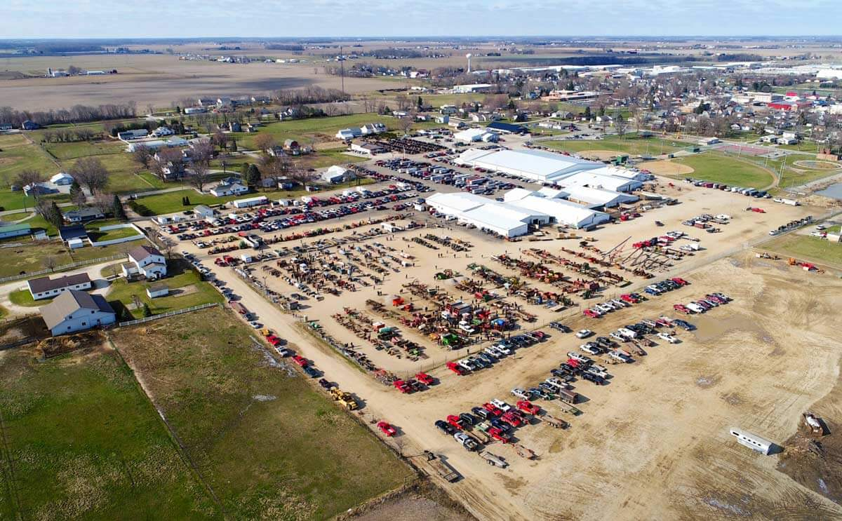 Overhead view of Topeka Livestock Auctions barns