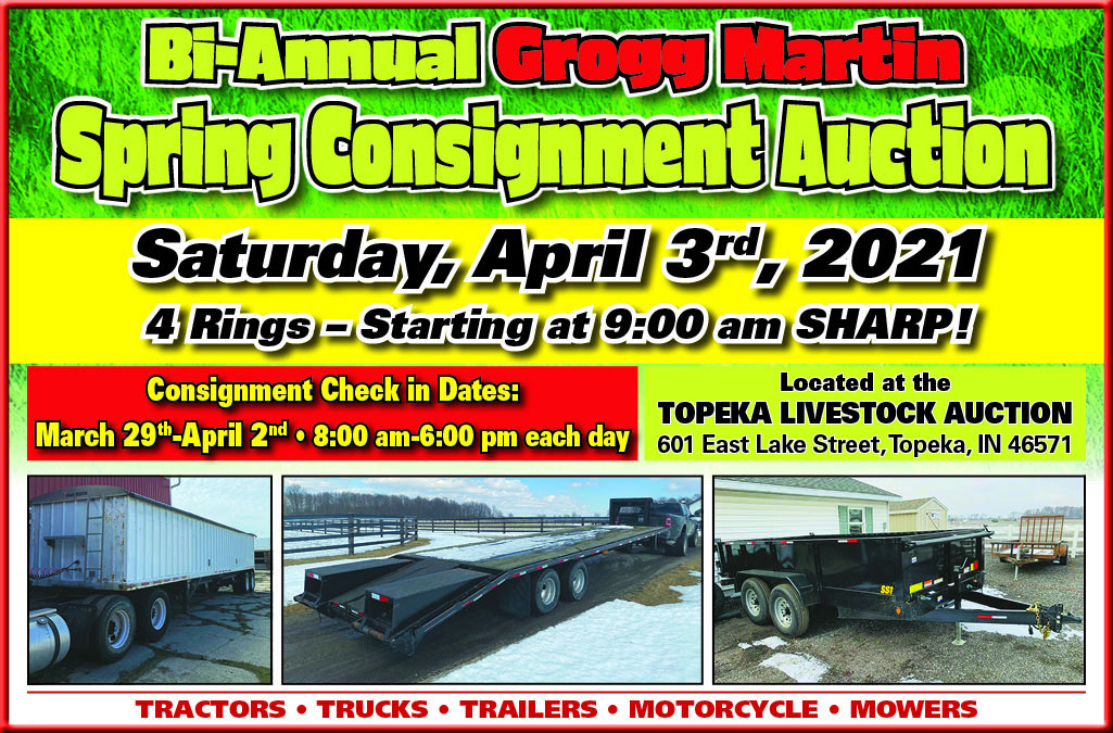 2021 Bi-Annual Spring Equipment Consignment Sale at the Topeka Auction Barn