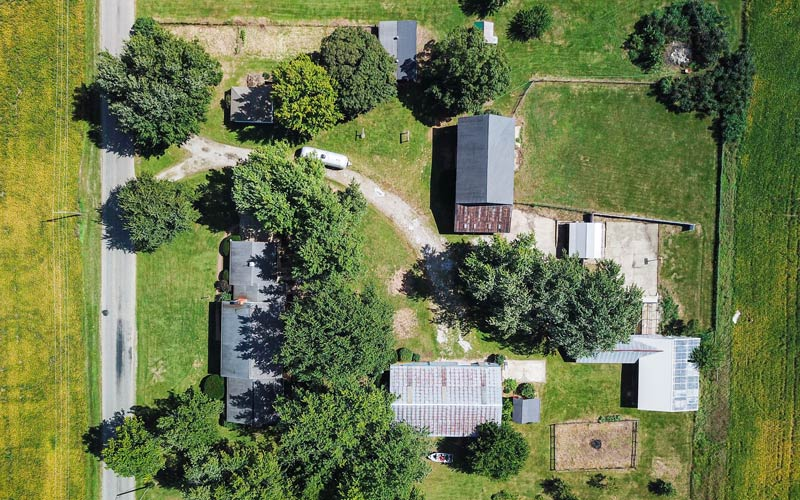 Overhead drone photo of home for Auction: 0675 W 300 N, Howe, Indiana